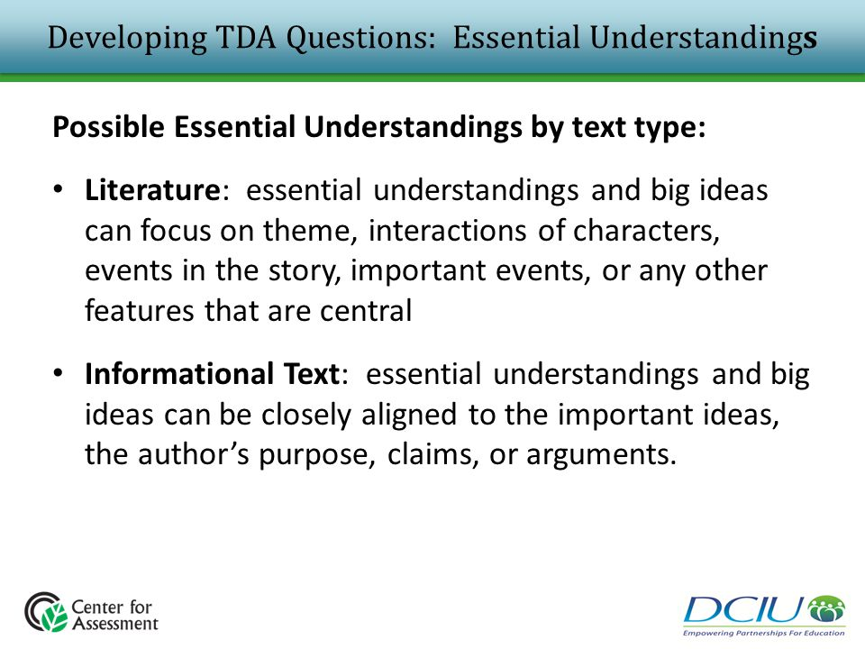 Developing TDA Questions: Essential Understandings