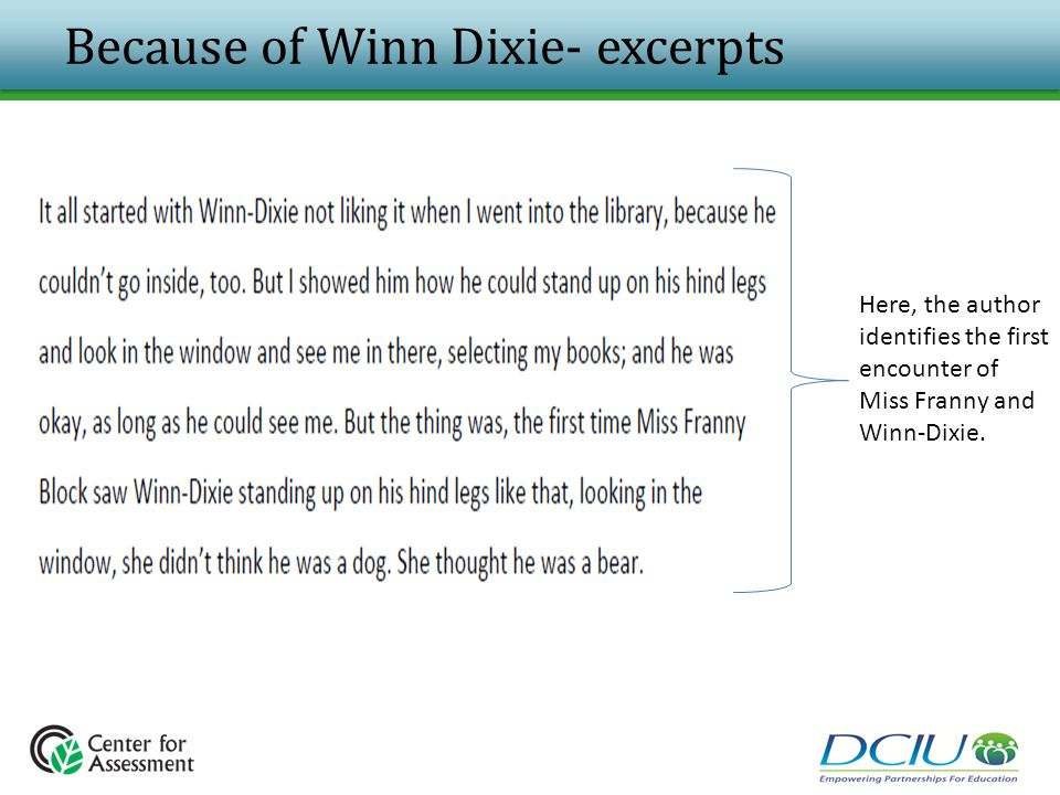 Because of Winn Dixie- excerpts