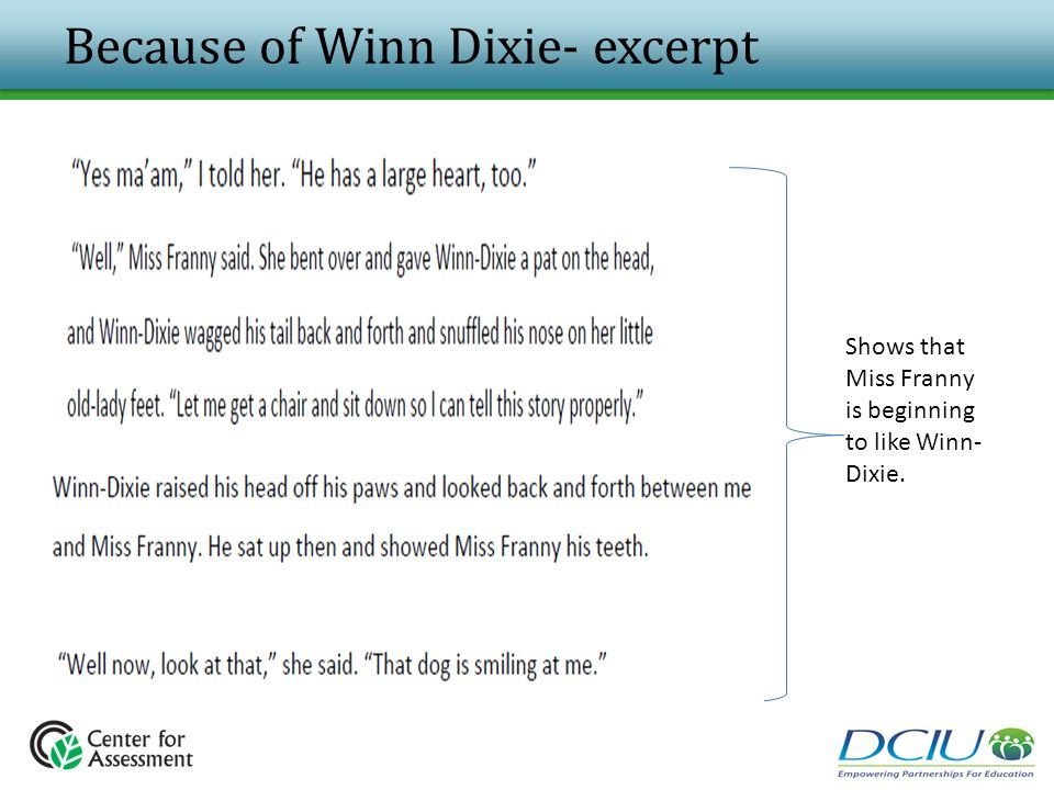 Because of Winn Dixie- excerpt