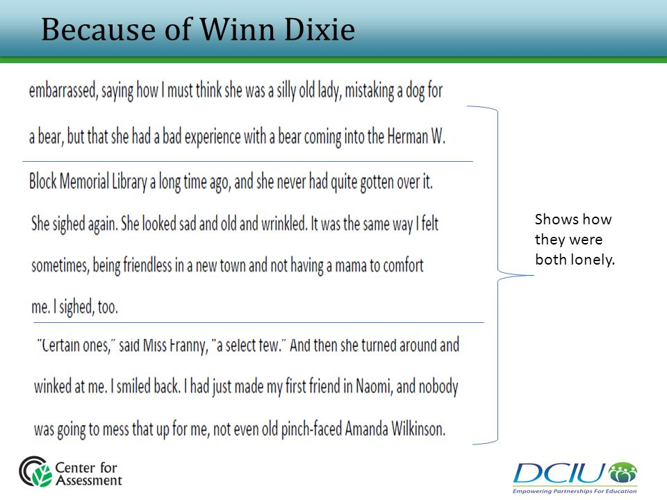 Because of Winn Dixie Shows how they were both lonely.