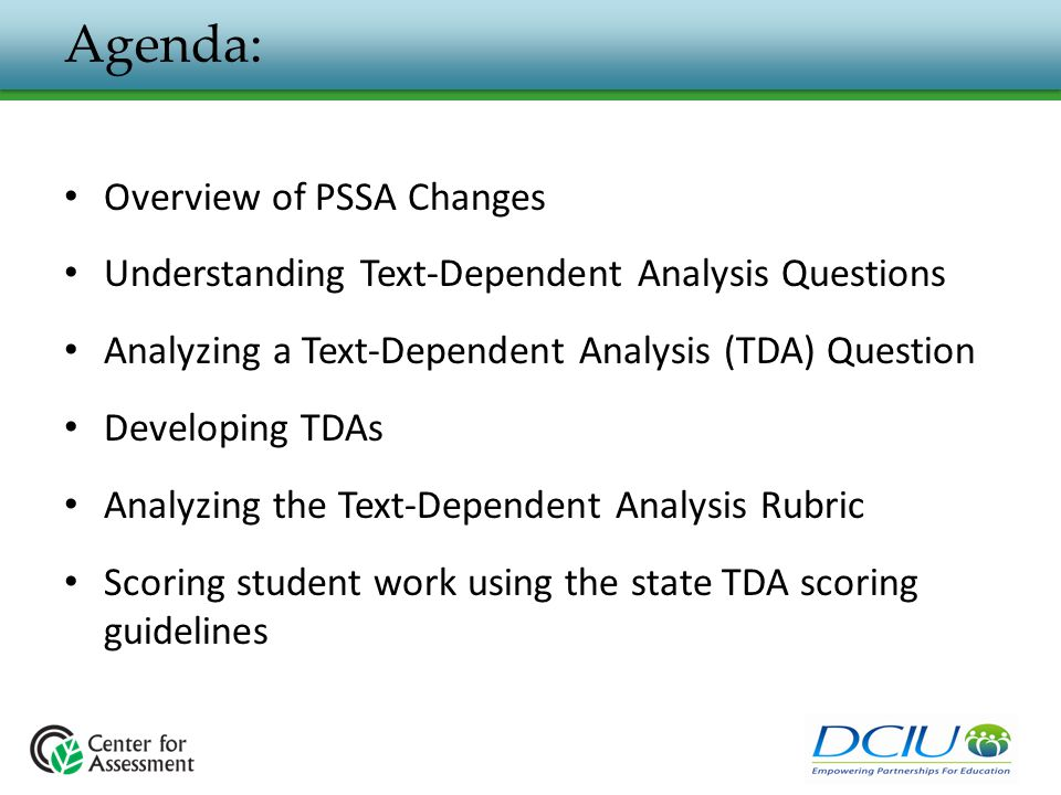Agenda: Overview of PSSA Changes