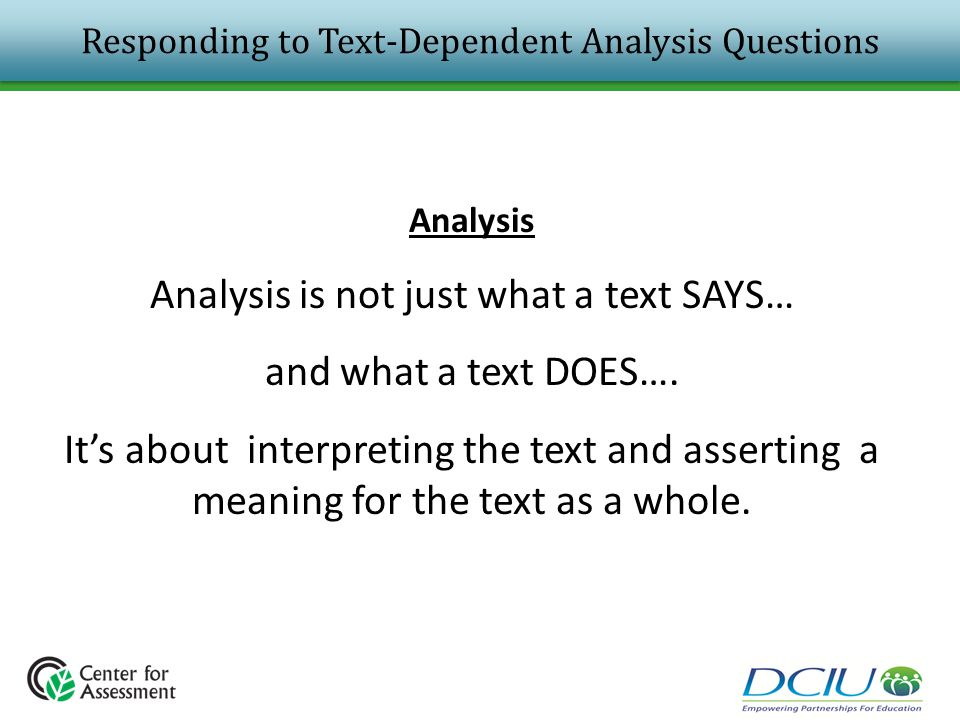Responding to Text-Dependent Analysis Questions