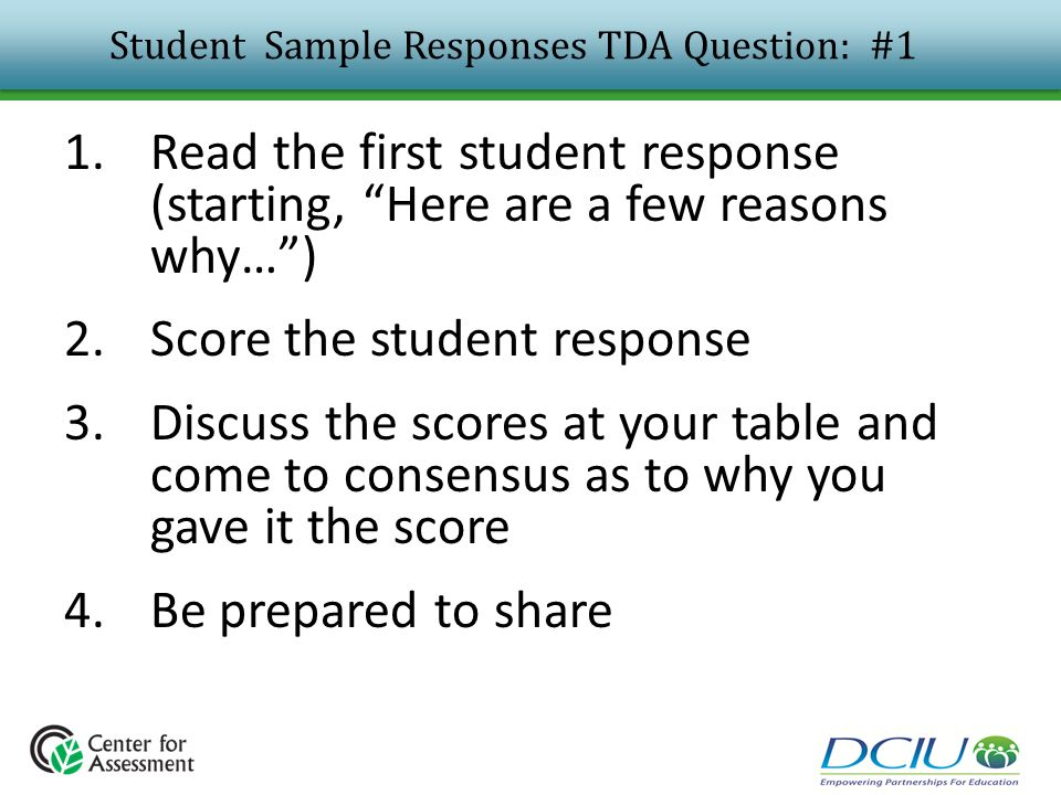 Student Sample Responses TDA Question: #1