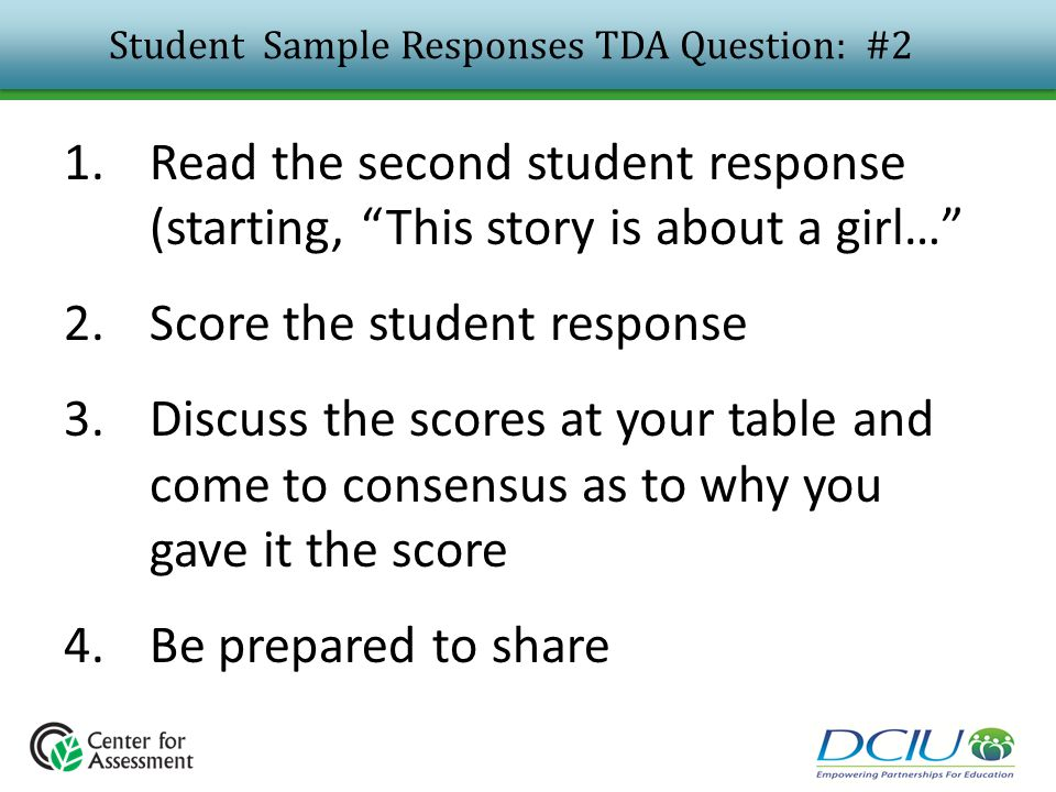 Student Sample Responses TDA Question: #2