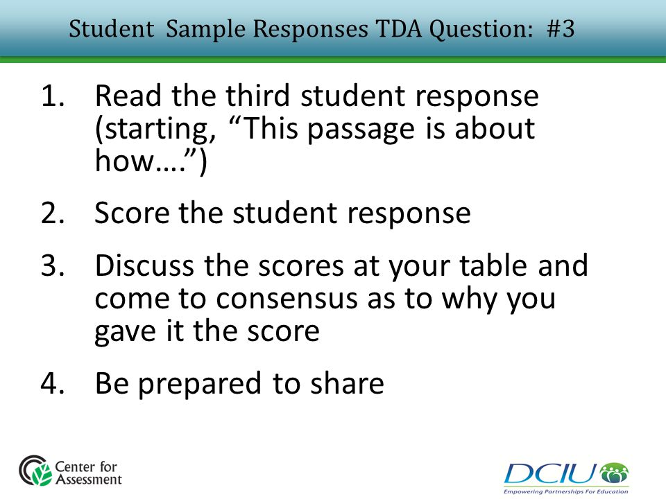 Student Sample Responses TDA Question: #3