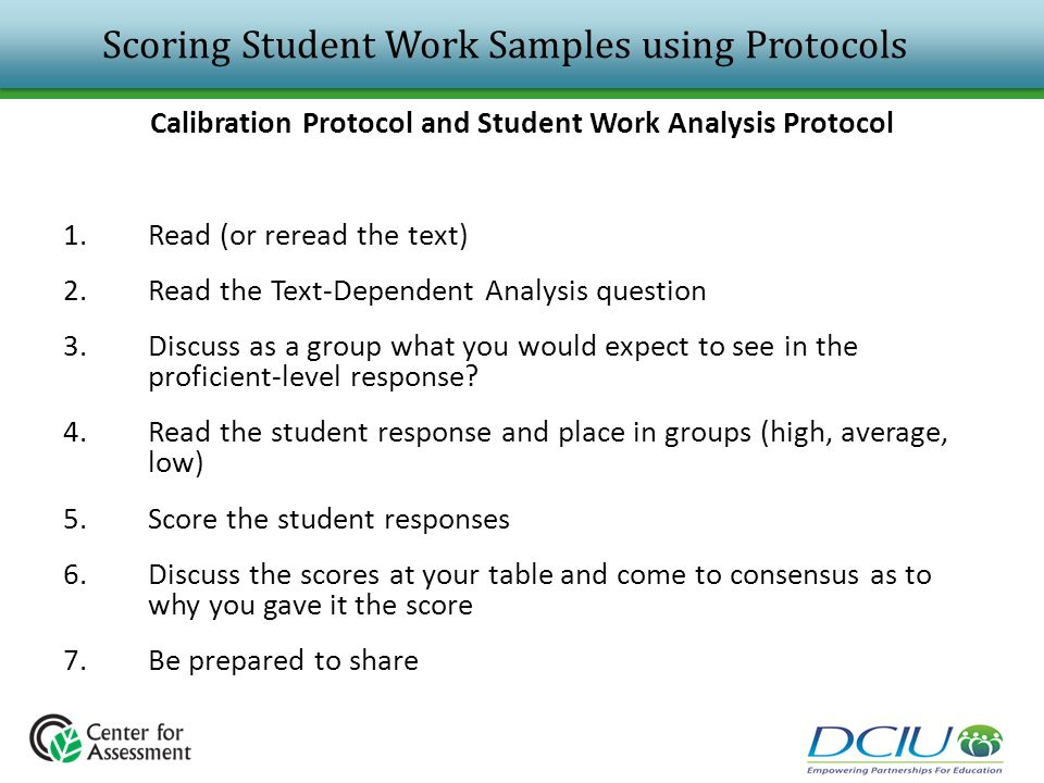Scoring Student Work Samples using Protocols