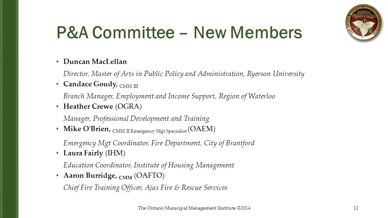 P&A Committee – New Members