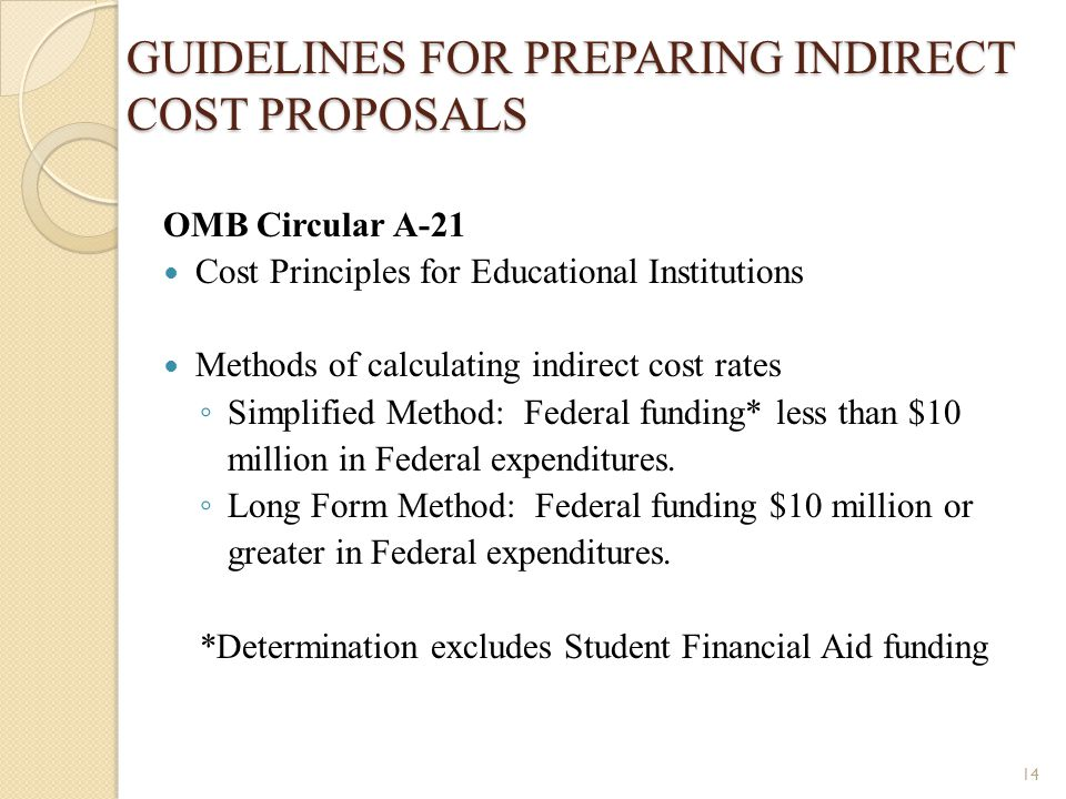 GUIDELINES FOR PREPARING INDIRECT COST PROPOSALS