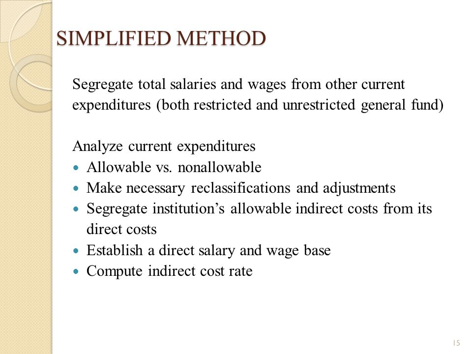 SIMPLIFIED METHOD Segregate total salaries and wages from other current expenditures (both restricted and unrestricted general fund)