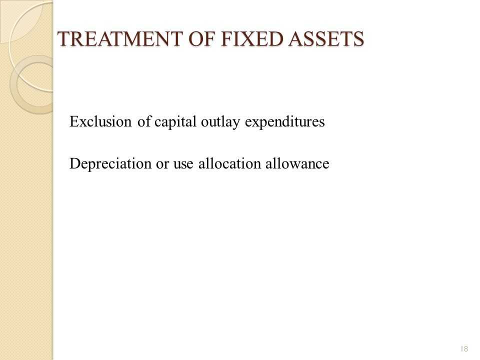 TREATMENT OF FIXED ASSETS