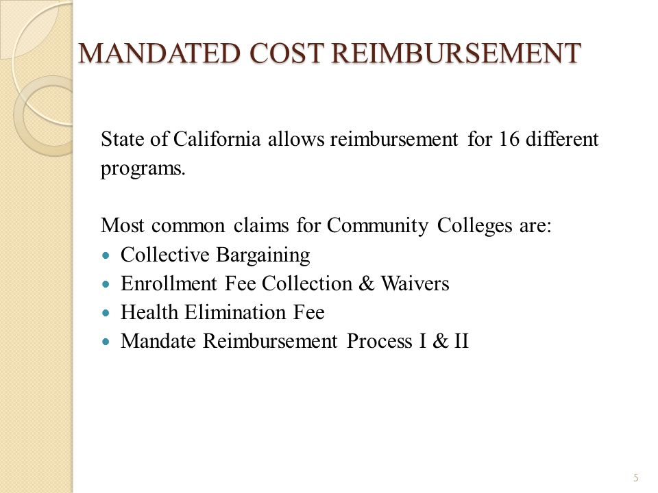 MANDATED COST REIMBURSEMENT