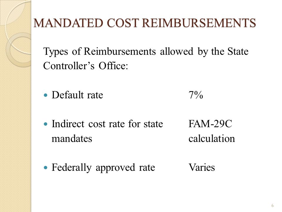 MANDATED COST REIMBURSEMENTS