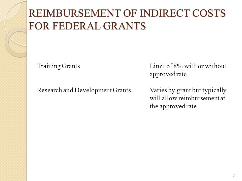 REIMBURSEMENT OF INDIRECT COSTS FOR FEDERAL GRANTS