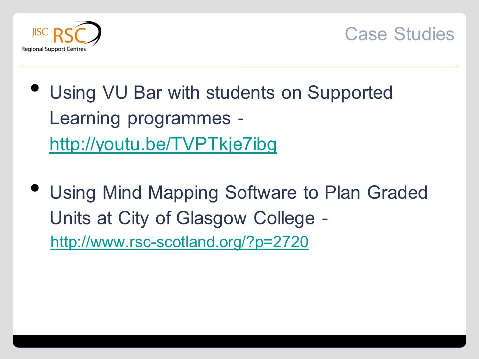 Case Studies Using VU Bar with students on Supported Learning programmes - http://youtu.be/TVPTkje7ibg.