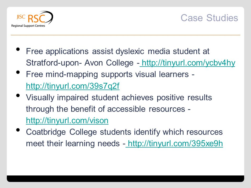 Case Studies Free applications assist dyslexic media student at Stratford-upon- Avon College - http://tinyurl.com/ycbv4hy.