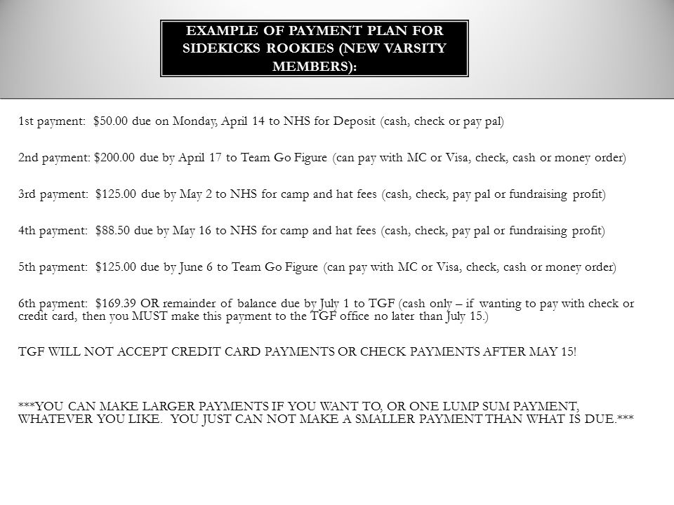 Example of Payment Plan for Sidekicks Rookies (NEW VARSITY MEMBERS):