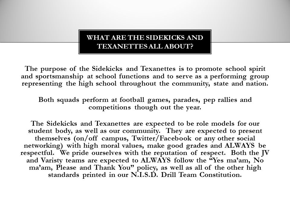 What are the sidekicks and texanettes all about