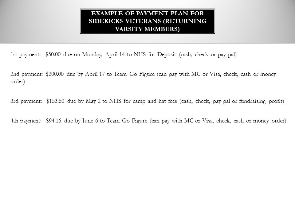 Example of Payment Plan for Sidekicks Veterans (RETURNING VARSITY MEMBERS)