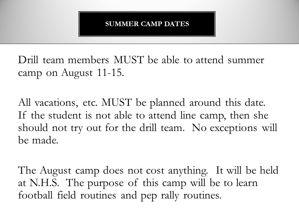 SUMMER CAMP DATES