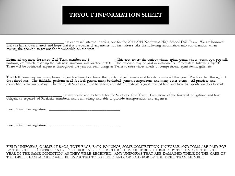 TRYOUT INFORMATION SHEET