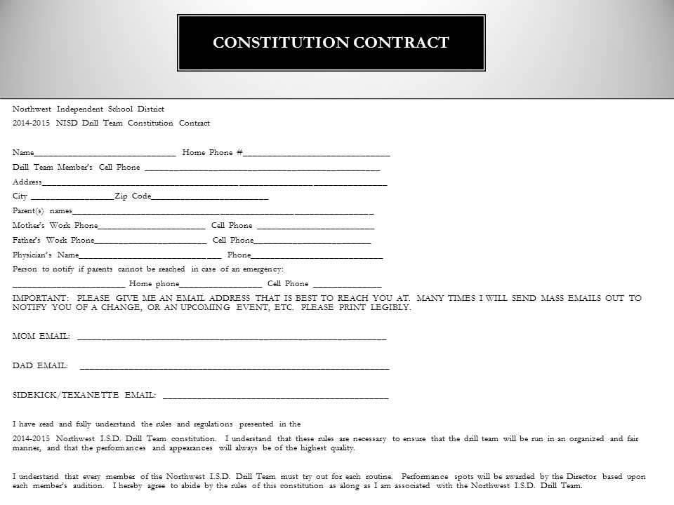 CONSTITUTION CONTRACT