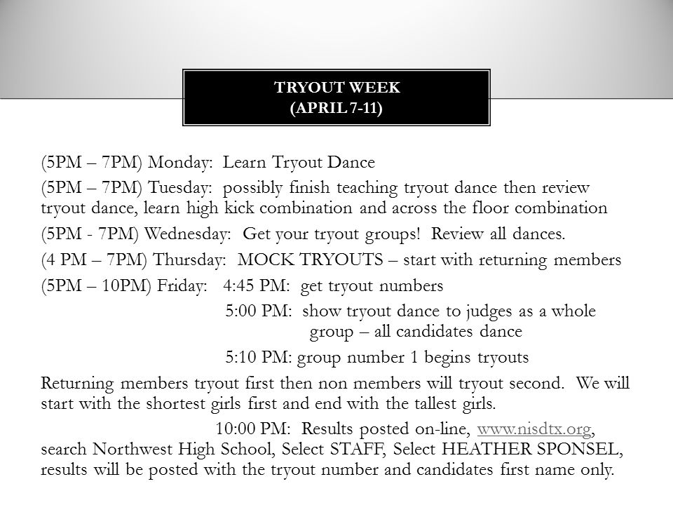 Tryout Week (April 7-11)