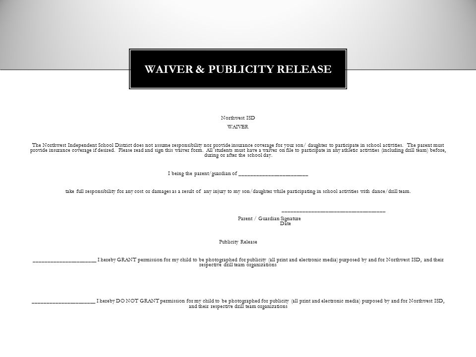 WAIVER & PUBLICITY RELEASE