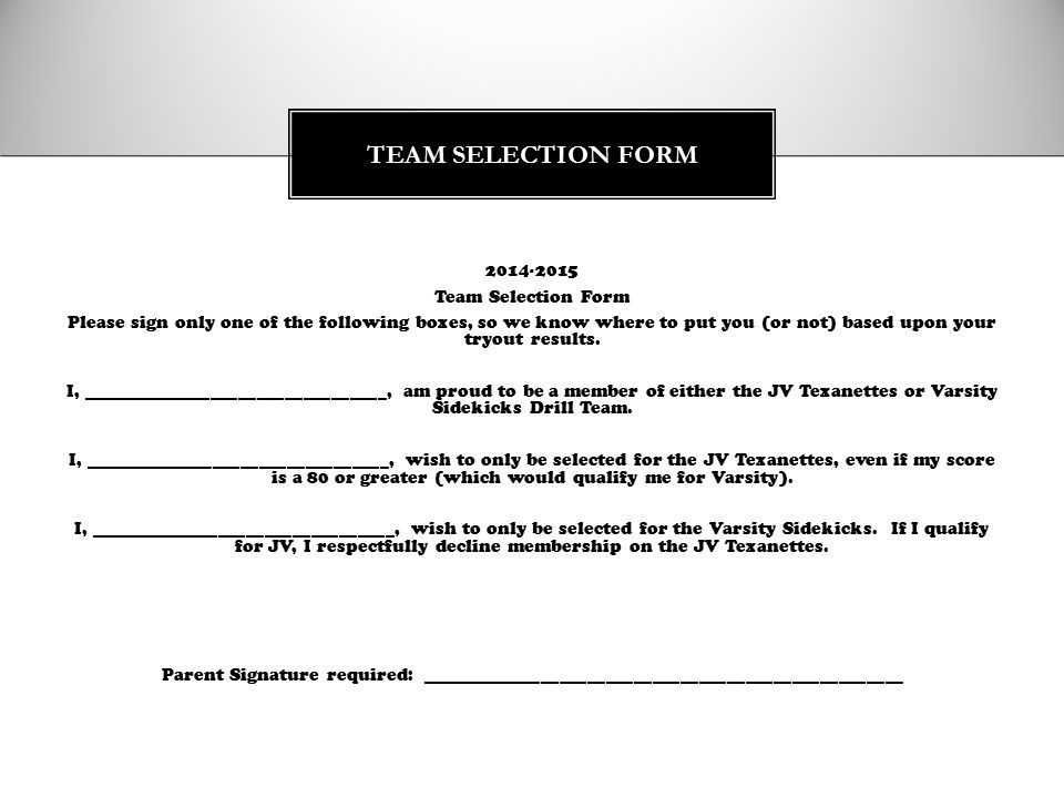 TEAM SELECTION FORM