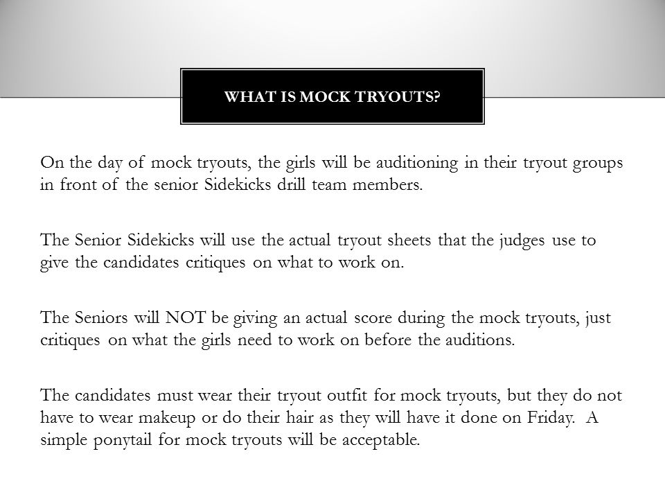 What is mock tryouts