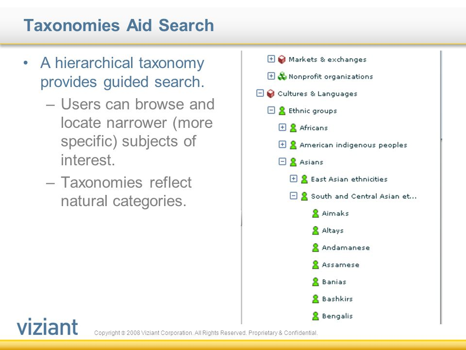 Taxonomies Aid Search A hierarchical taxonomy provides guided search.