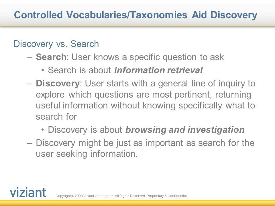Controlled Vocabularies/Taxonomies Aid Discovery