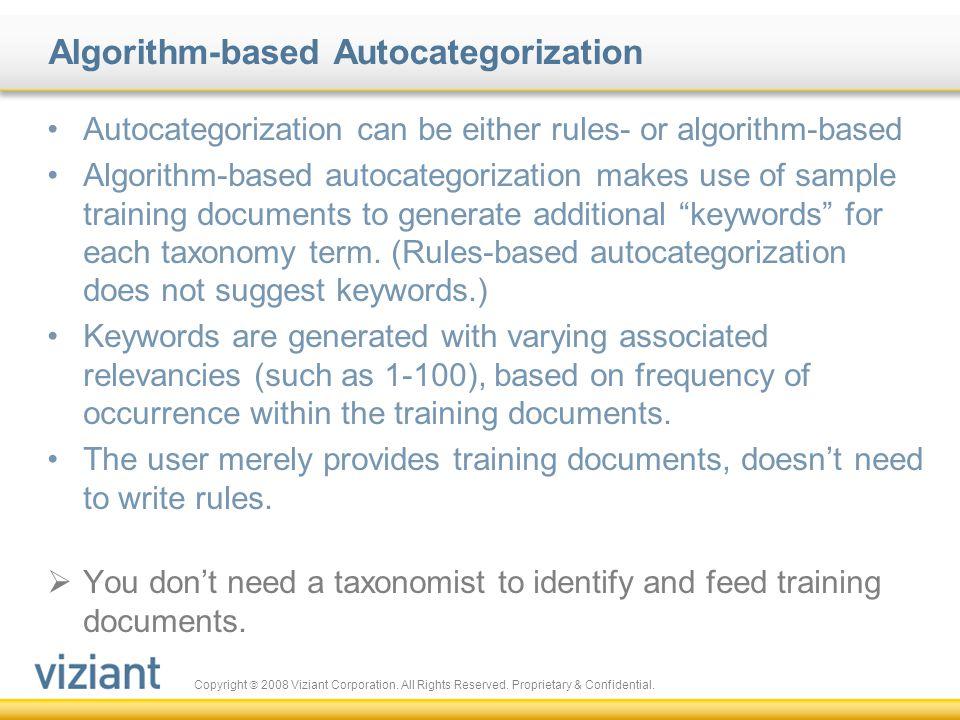Algorithm-based Autocategorization