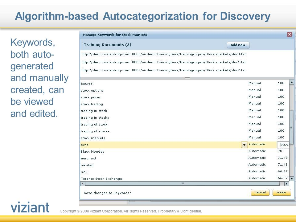 Algorithm-based Autocategorization for Discovery