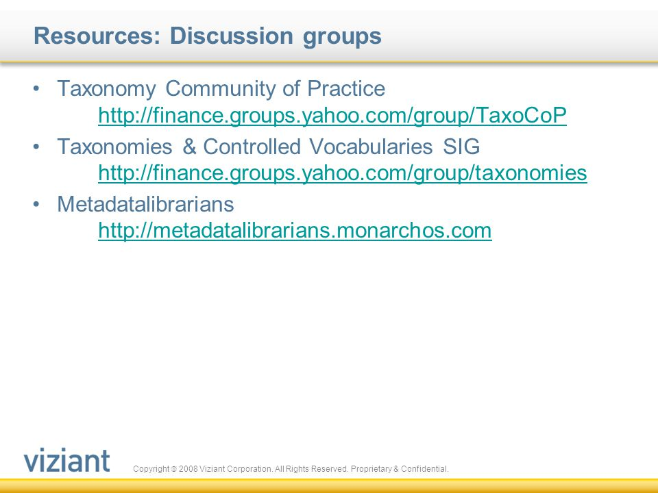Resources: Discussion groups