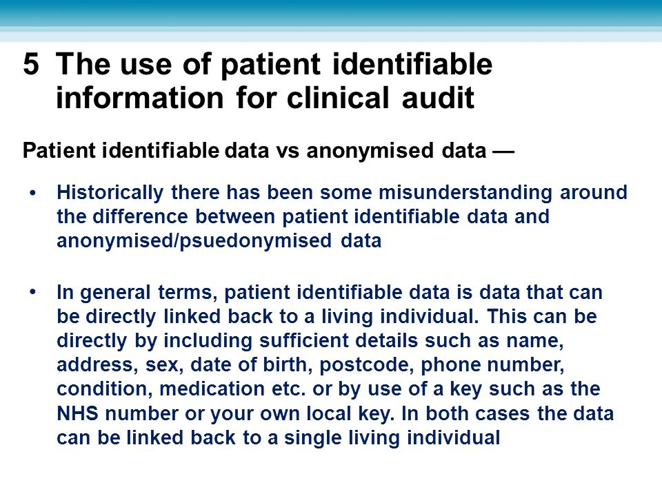 The use of patient identifiable information for clinical audit