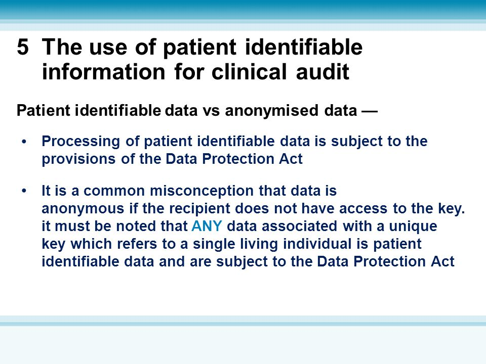 5 The use of patient identifiable information for clinical audit