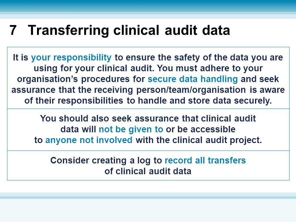 7 Transferring clinical audit data