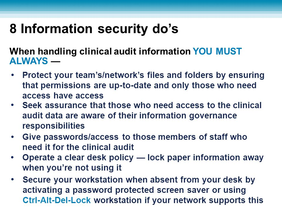 8 Information security do's