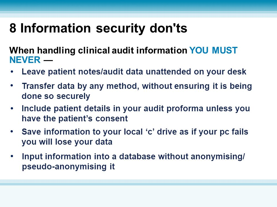 8 Information security don ts