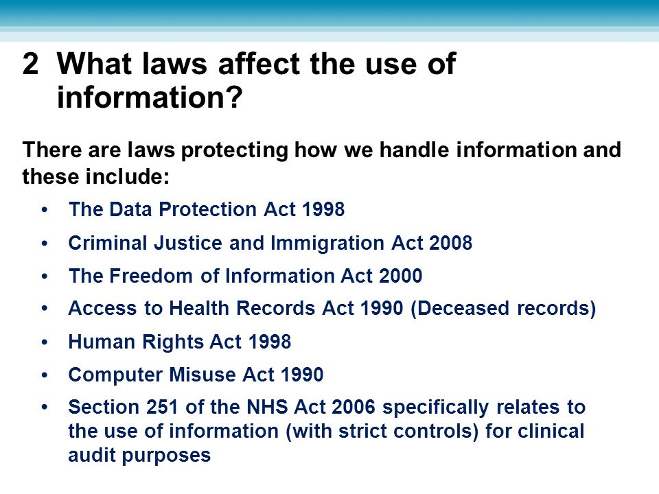 2 What laws affect the use of information