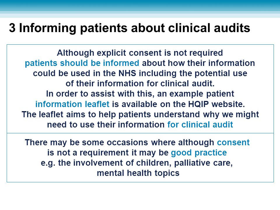 3 Informing patients about clinical audits
