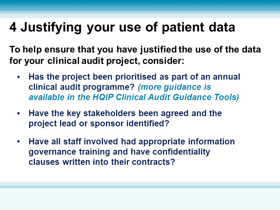 4 Justifying your use of patient data