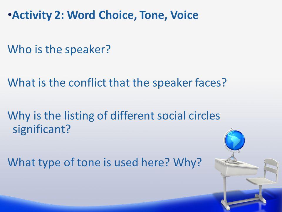 Activity 2: Word Choice, Tone, Voice