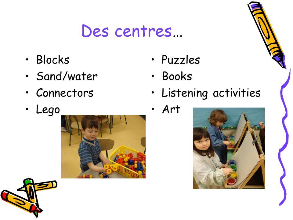 Des centres… Blocks Sand/water Connectors Lego Puzzles Books