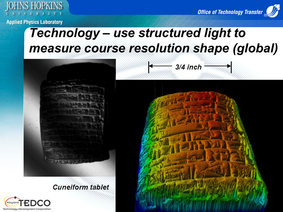 Technology – use structured light to measure course resolution shape (global)