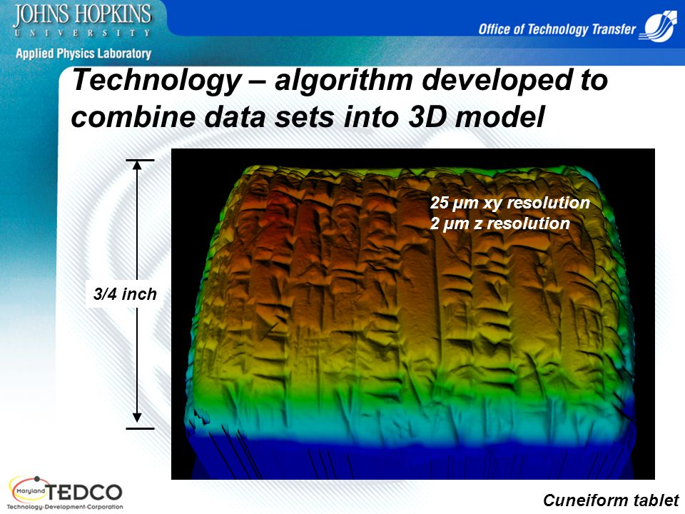 Technology – algorithm developed to combine data sets into 3D model