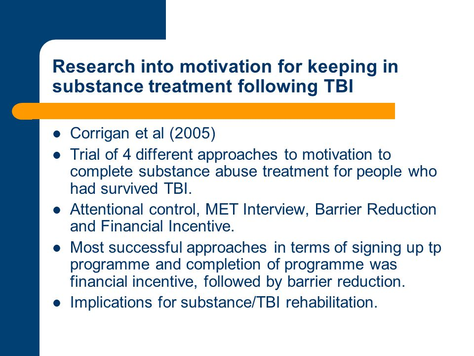 Research into motivation for keeping in substance treatment following TBI