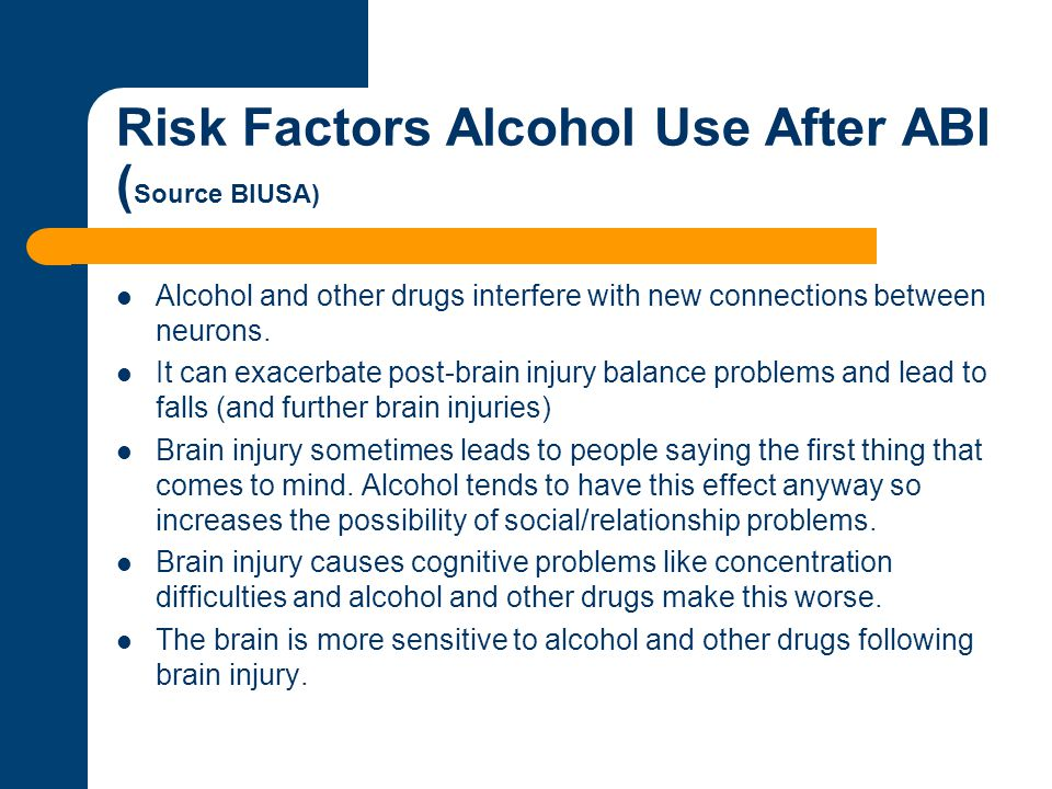 Risk Factors Alcohol Use After ABI (Source BIUSA)
