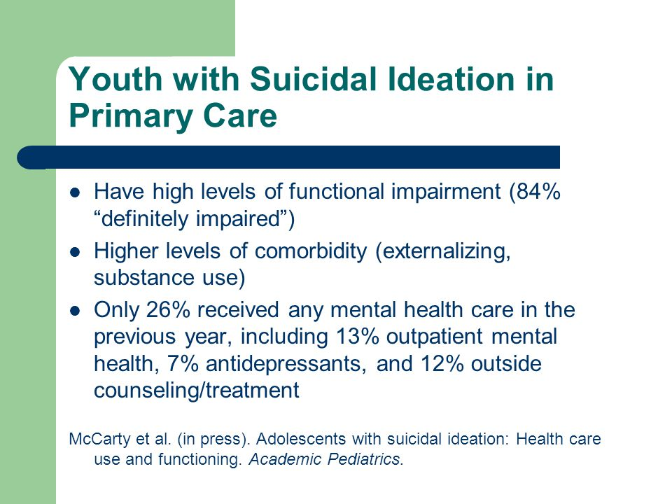 Youth with Suicidal Ideation in Primary Care