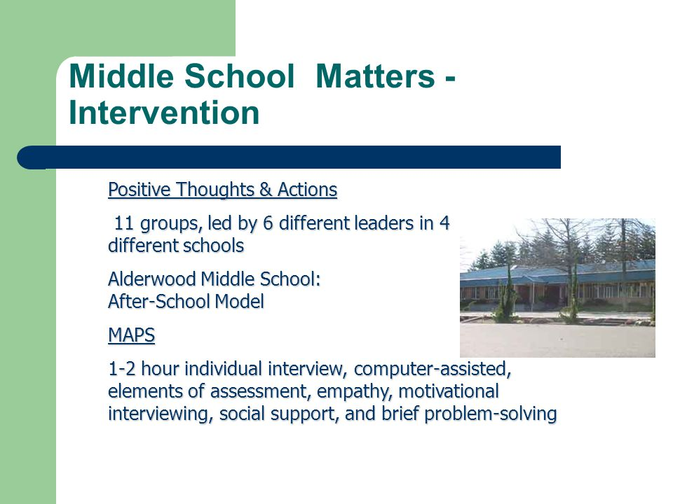 Middle School Matters - Intervention